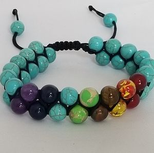 7 Chakra Dbl Layer Turquoise Lava Stone Bracelet